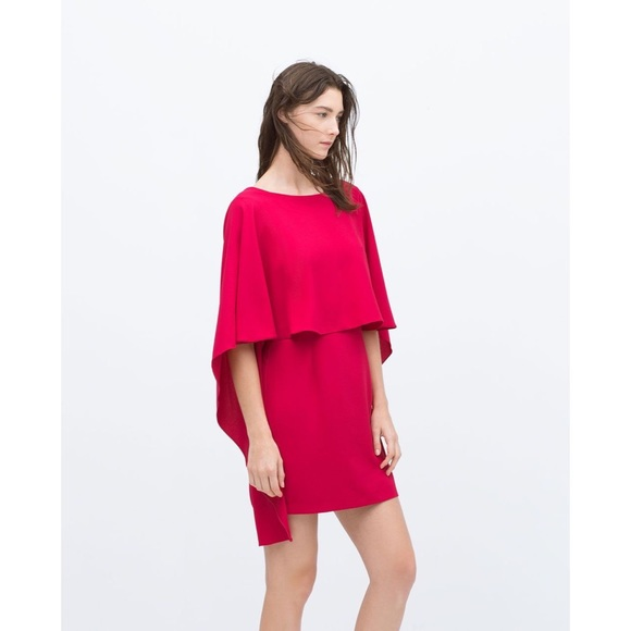 Magenta Pink Low Back Cape Dress